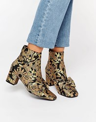 Asos Rayal Bow Ankle Boots Gold Jacquard
