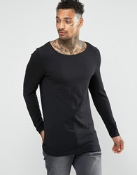 Asos Longline Muscle Long Sleeve T Shirt With Boat Neck In Black Black
