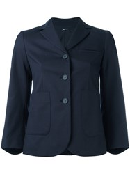 Jil Sander Navy Button Up Blazer Blue