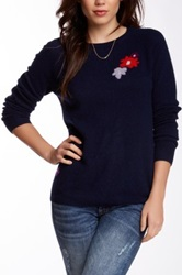 Trovata Cashmere Floral Design Sweater Blue