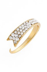 Jules Smith Designs Women's 'Val' Stackable Ribbon Ring Gold Clear