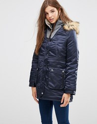 Girls On Film Hooded Parka With Faux Fur Trim Navy Black