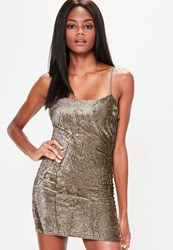 Missguided Brown Crinkle Velvet Strappy Bodycon Dress