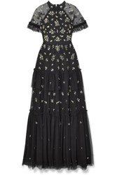 Needle And Thread Lustre Tiered Embellished Tulle Gown Black