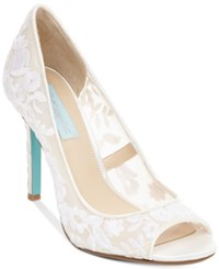 Blue By Betsey Johnson Adley Embroidered Evening Pumps Women's Shoes Ivory