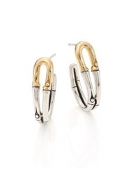 John Hardy Bamboo 18K Yellow Gold And Sterling Silver Hoop Earrings 1