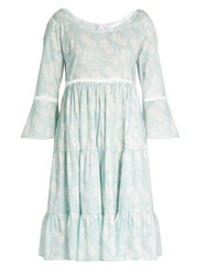 Athena Procopiou A Bohemian Romance Cotton Dress Blue White
