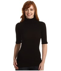 Michael Stars Elbow Sleeve Turtleneck Black Women's Clothing