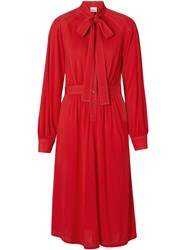 Burberry Topstitch Detail Jersey Tie Neck Dress Red