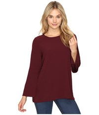 Kensie Smooth Stretch Crepe Top Ksnk424s Wildberry Women's Clothing Burgundy