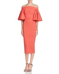 Aq Aq Off The Shoulder Ruffle Midi Dress Coral