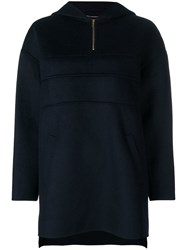 Carven Zipped Knit Sweater Blue