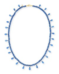 Splendid Smooth Blue Sapphire And Faceted Briolette Necklace
