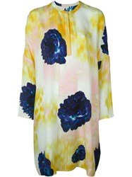 Lala Berlin Flower Print Tunic Dress Yellow And Orange