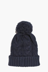 Boohoo Knit Bobble Beanie Navy