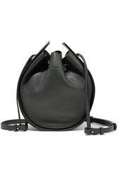 The Row Textured Leather Bucket Bag Dark Green