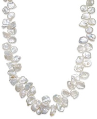 Macy's Cultured Freshwater Pearl Keshi Cluster Necklace In Sterling Silver 12Mm White
