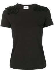 Dondup Lace Detail Fitted T Shirt Black