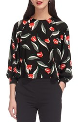 Whistles Tulip Print Puff Sleeve Top Multicolor
