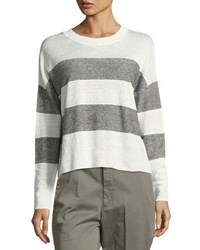 Vince Striped Linen Pullover Sweater White Black