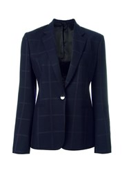 Paul Smith Checked Button Front Blazer Blue