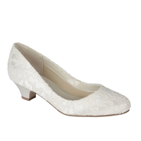 Bon Bon Lace Low Heel Court Shoes Ivory