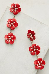 Anthropologie Cherry Blossom Drop Earrings Red