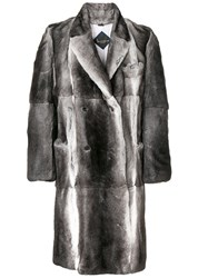 Billionaire Double Breasted Fur Coat Grey