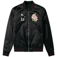 Alexander Mcqueen Embroidered Silk Souvenir Jacket Black