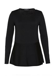Hallhuber Wool Jumper With Ruffle Detail Black