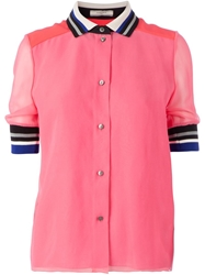Bouchra Jarrar Striped Collar And Cuffs Shirt Pink And Purple