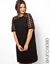 Asos Curve Shift Dress With Cage Sleeve Black