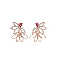 Joana Salazar Lotus Flower Sparkling Earjackets With Pink Tourmalines Rose Gold
