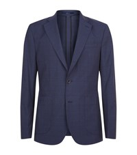 Hardy Amies Pow Check Suit Jacket Male Navy