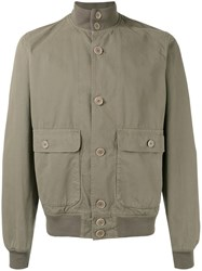 Aspesi Button Front Bomber Jacket Green