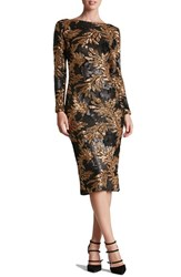 Dress The Population Women's 'Emery' Scoop Back Two Tone Sequin Sheath Matte Black Gold