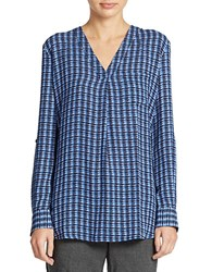 Lord And Taylor Petite Houndstooth Printed Blouse Evening Blue