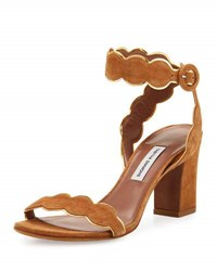 Tabitha Simmons Cloud Suede Ankle Wrap Sandal Tan