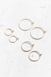 Urban Outfitters Brass Wire Hoop Earring Set Gold