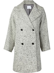 Vince Herringbone Print Coat Grey