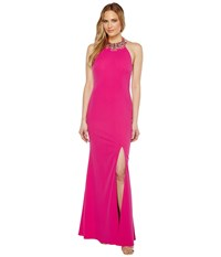 Adrianna Papell Knit Crepe Beaded Neck Gown Cool Magenta Women's Dress Pink