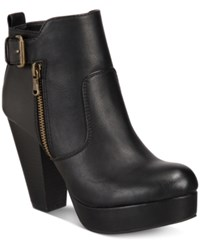 Material Girl Raelyn Block Heel Platform Booties Only At Macy's Women's Shoes Black