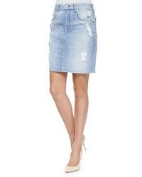 7 For All Mankind Distressed Denim Pencil Skirt