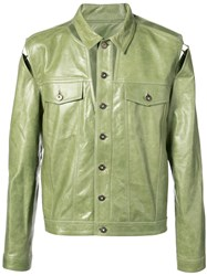 Y Project Classic Jacket Men Calf Leather Acetate 48 Green