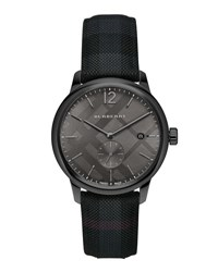 Burberry 40Mm Classic Round Watch With Leather Strap Black