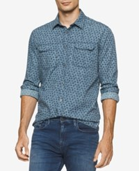 Calvin Klein Jeans Men's Oiled Rose Floral Print Shirt Navy Armada
