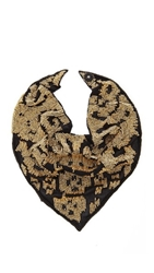Roarke New York Ikat Beaded Bib Necklace Black Gold