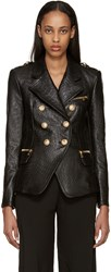 Balmain Black Croc Embossed Leather Jacket
