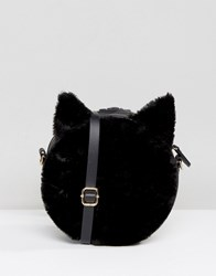 Monki Cat Ear Faux Fur Cross Body Bag Black