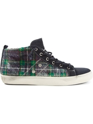 Leather Crown Tartan Pattern Hi Top Sneakers Blue